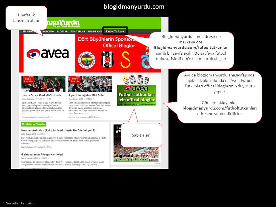 Ayrıca blogidmanyurdu anasayfasında açılacak olan alanda da Avea Futbol Tutkunları offical bloglarının duyurusu yapılır Görsele tıklayanlar blogidmanyurdu.com/futboltutkunları adresine yönlendirilirler Blogidmanyurdu.com adresinde markaya özel Blogidmanyurdu.com/futboltutkunları isimli bir sayfa açılır.
