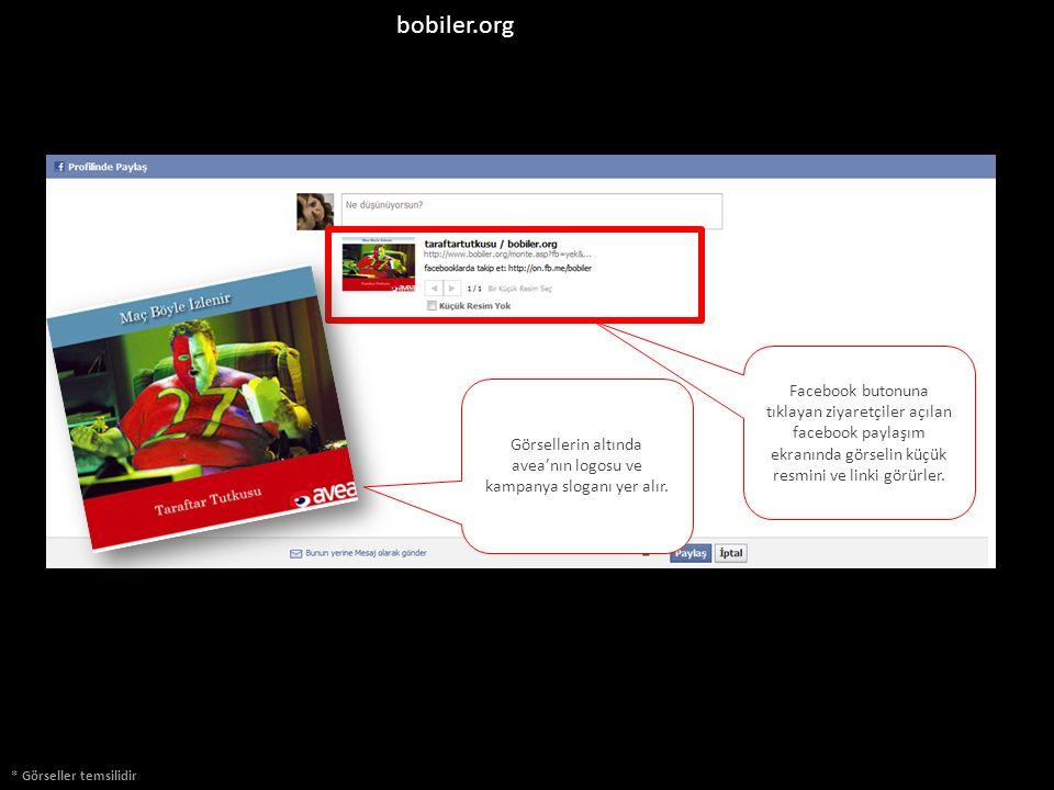 bobiler.org * Görseller temsilidir Facebook butonuna tıklayan ziyaretçiler açılan facebook paylaşım ekranında görselin küçük resmini ve linki görürler