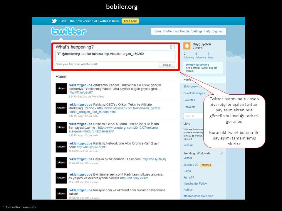 bobiler.org * Görseller temsilidir Twitter butonuna tıklayan ziyaretçiler açılan twitter paylaşım ekranında görselin bulunduğu adresi görürler. Burada