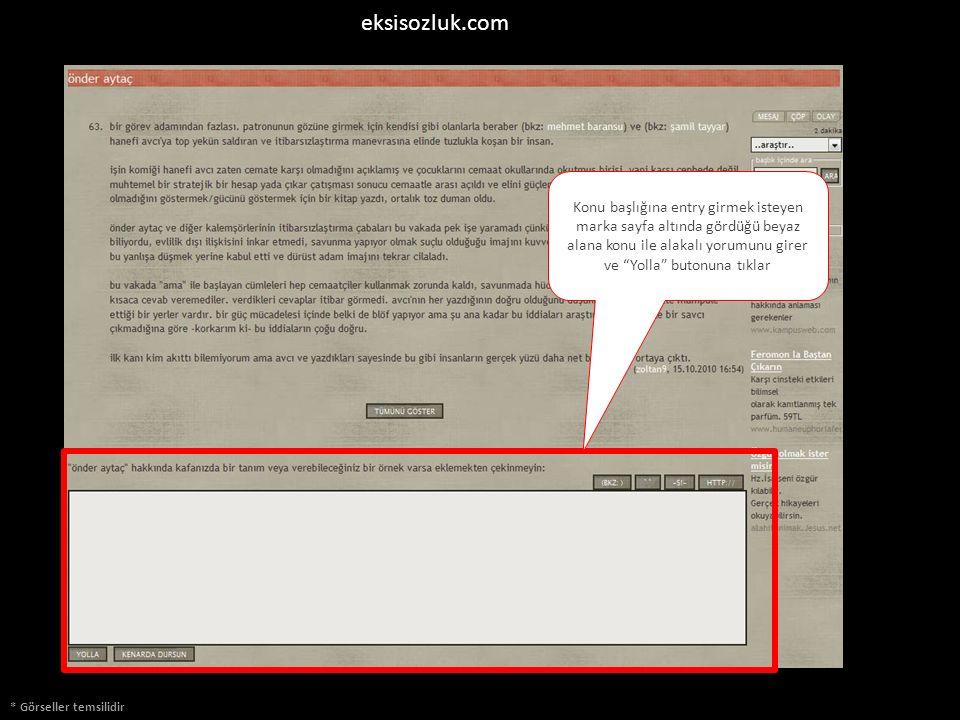 * Görseller temsilidir eksisozluk.com Konu başlığına entry girmek isteyen marka sayfa altında gördüğü beyaz alana konu ile alakalı yorumunu girer ve Yolla butonuna tıklar