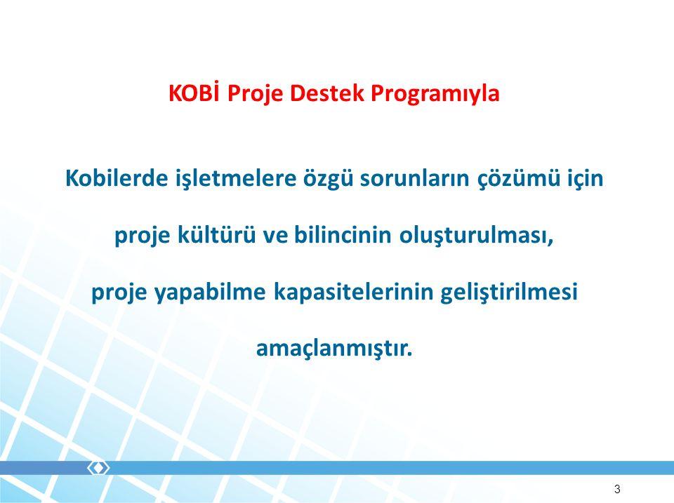 3 KOBİ Proje Destek Programıyla Kobilerde işletmelere özgü sorunların çözümü için proje kültürü ve bilincinin oluşturulması, proje yapabilme kapasitelerinin geliştirilmesi amaçlanmıştır.