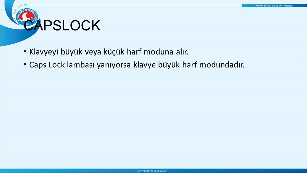 CAPSLOCK Klavyeyi büyük veya küçük harf moduna alır.