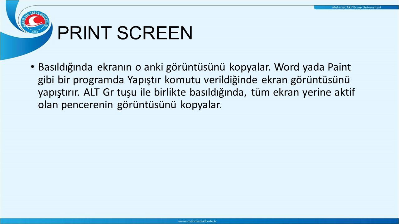PRINT SCREEN Basıldığında ekranın o anki görüntüsünü kopyalar.