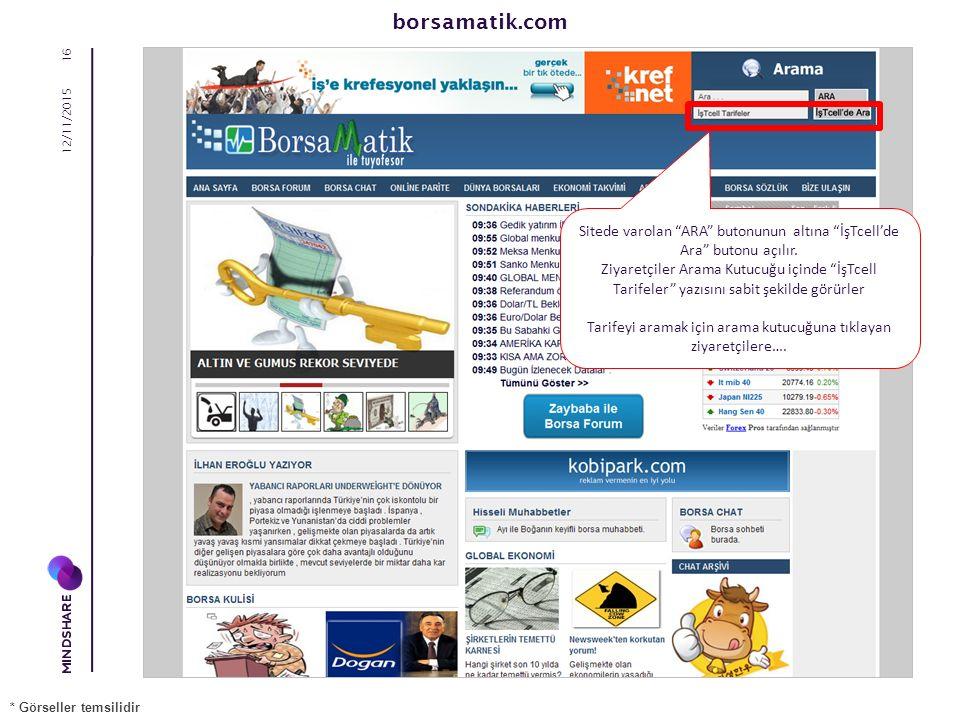 12/11/2015 16 Sitede varolan ARA butonunun altına İşTcell'de Ara butonu açılır.