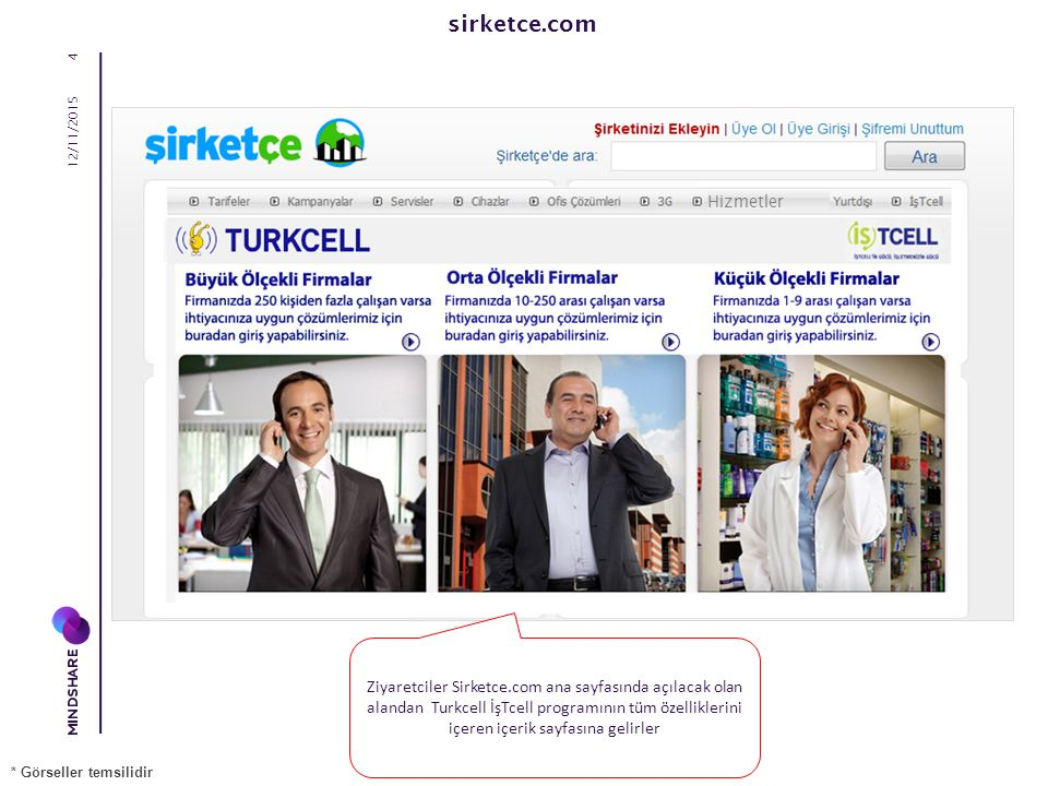 sirketce.com 12/11/2015 4 Ziyaretciler Sirketce.com ana sayfasında açılacak olan alandan Turkcell İşTcell programının tüm özelliklerini içeren içerik sayfasına gelirler * Görseller temsilidir Hizmetler