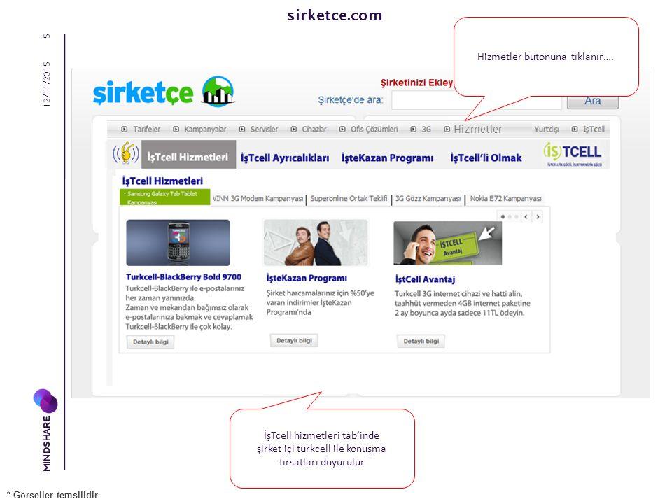 sirketce.com 12/11/2015 6 İşTcell cihaz tab'inde cihaz fırsatları duyurulur * Görseller temsilidir Hizmetler