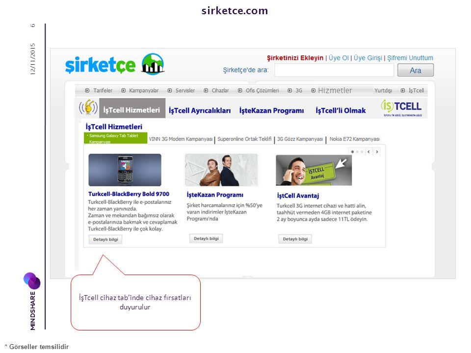 sirketce.com 12/11/2015 7 İşTcell Avantaj tab'inde şirket içi vodafone ile konuşma, mesajlaşma fırsatları duyurulur * Görseller temsilidir Hizmetler