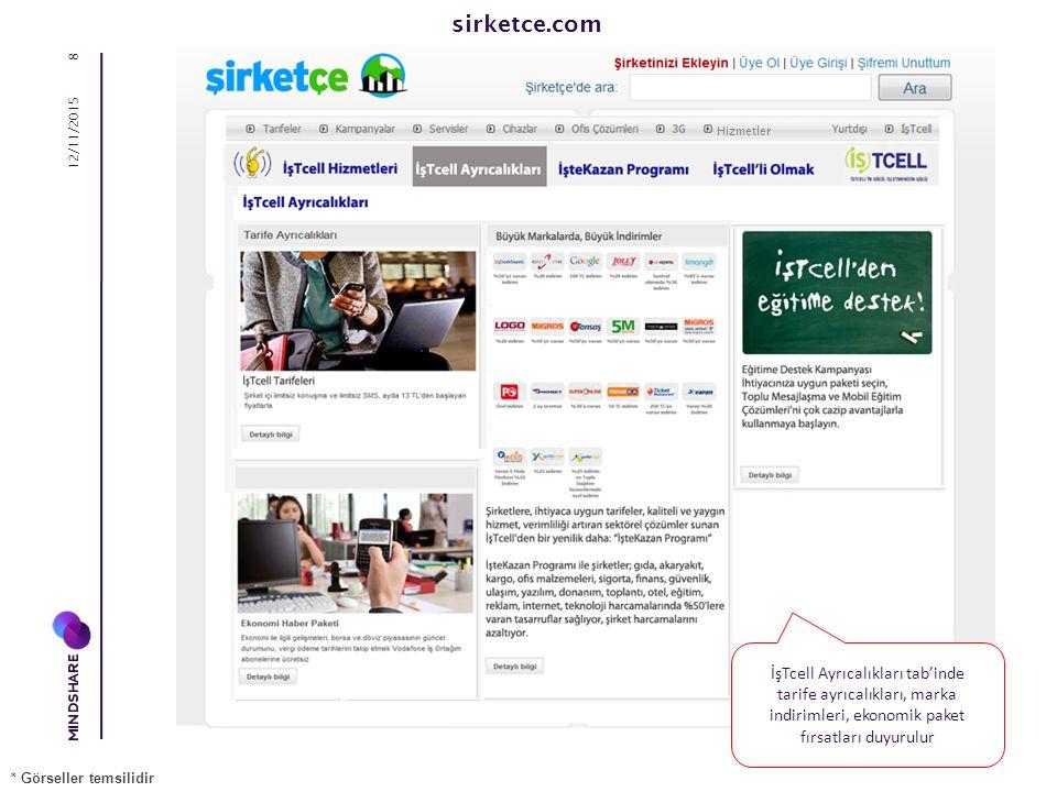 sirketce.com 12/11/2015 8 İşTcell Ayrıcalıkları tab'inde tarife ayrıcalıkları, marka indirimleri, ekonomik paket fırsatları duyurulur * Görseller temsilidir Hizmetler