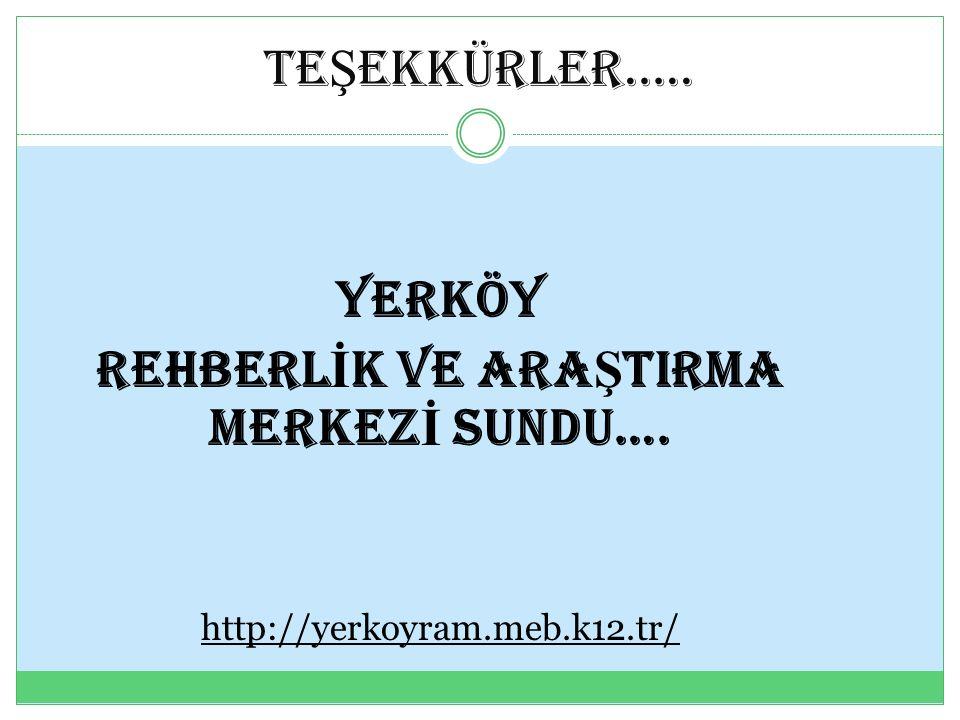 TE Ş EKKÜRLER….. YERKÖY REHBERL İ K VE ARA Ş TIRMA MERKEZ İ SUNDU…. http://yerkoyram.meb.k12.tr/