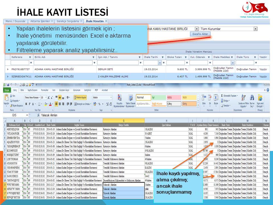 İHALE KAYIT LİSTESİ Yapılan ihalelerin listesini görmek için ; İhale yönetimi menüsünden Excel e aktarma yapılarak görülebilir. Filtreleme yaparak ana