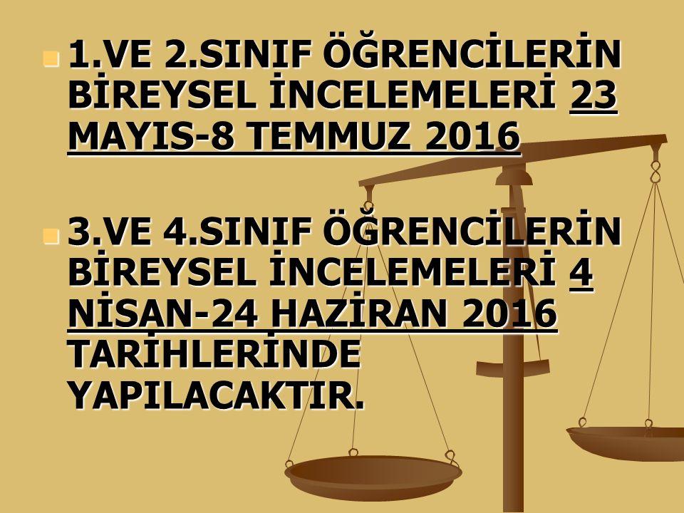 1.VE 2.SINIF ÖĞRENCİLERİN BİREYSEL İNCELEMELERİ 23 MAYIS-8 TEMMUZ 2016 1.VE 2.SINIF ÖĞRENCİLERİN BİREYSEL İNCELEMELERİ 23 MAYIS-8 TEMMUZ 2016 3.VE 4.S