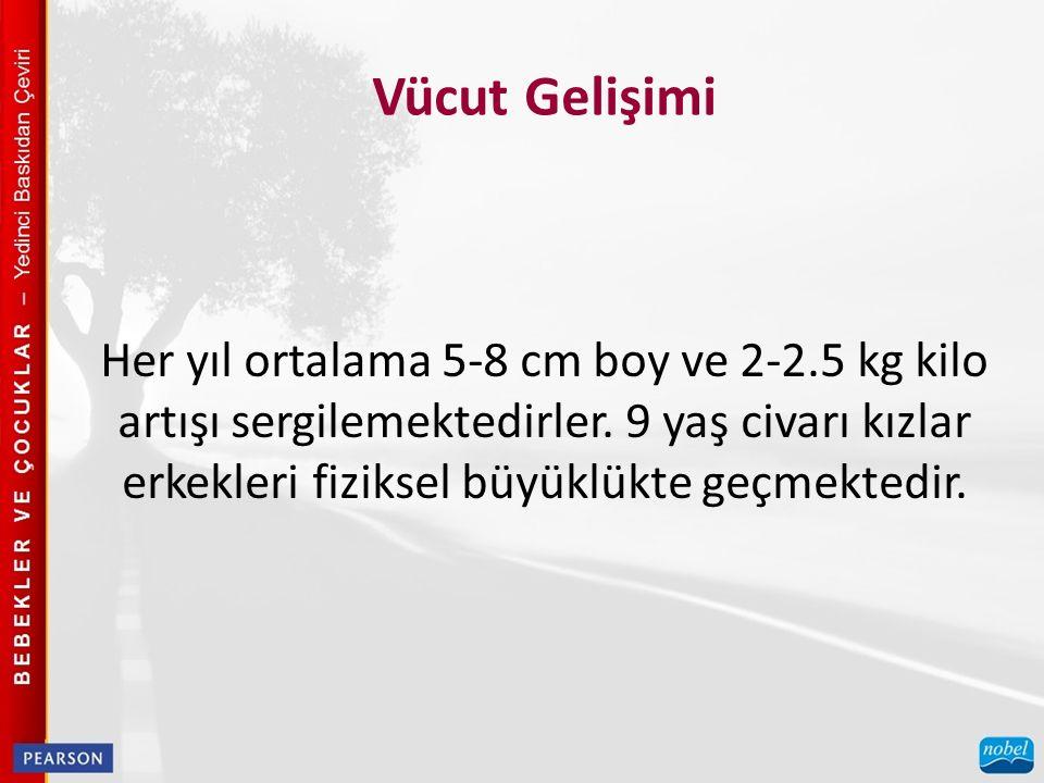 Her yıl ortalama 5-8 cm boy ve 2-2.5 kg kilo artışı sergilemektedirler. 9 yaş civarı kızlar erkekleri fiziksel büyüklükte geçmektedir.