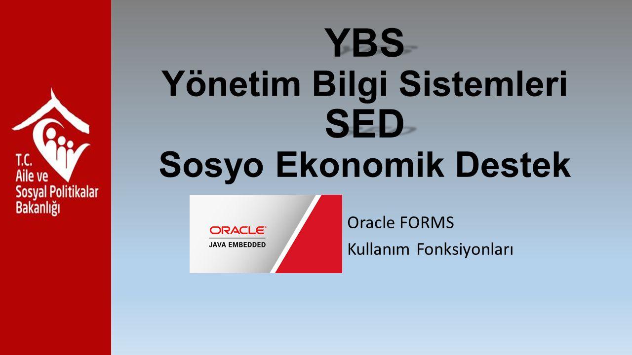 YBS SED YBS Yönetim Bilgi Sistemleri SED Sosyo Ekonomik Destek Oracle FORMS Kullanım Fonksiyonları