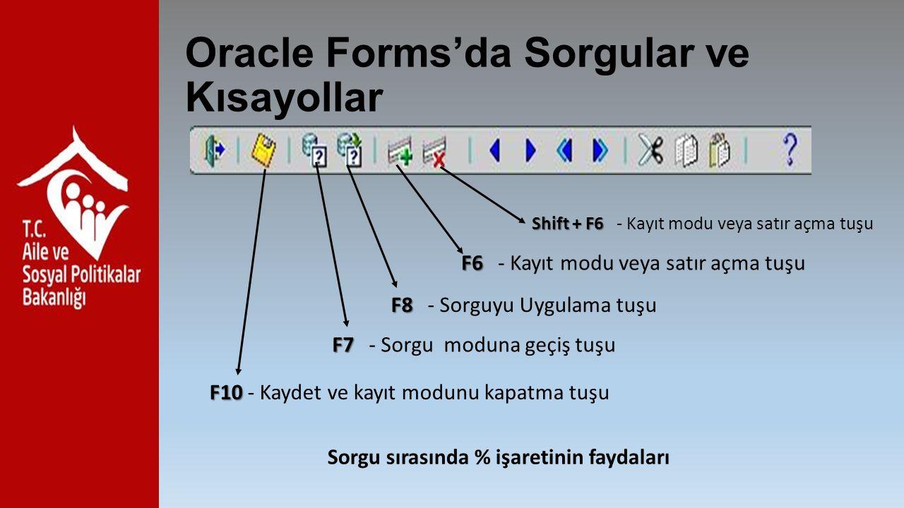 Oracle Forms'da Sorgular ve Kısayollar F10 F10 - Kaydet ve kayıt modunu kapatma tuşu F7 F7 - Sorgu moduna geçiş tuşu F8 F8 - Sorguyu Uygulama tuşu F6