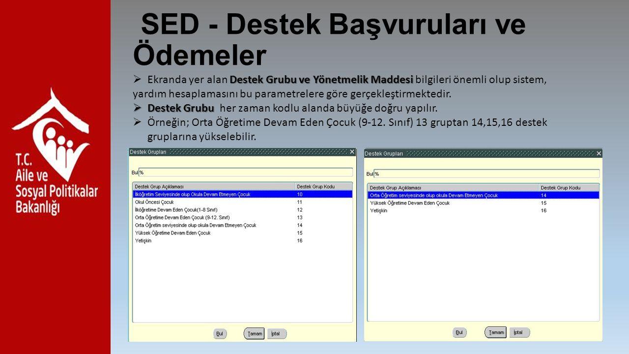 SED - Destek Başvuruları ve Ödemeler Destek Grubu ve Yönetmelik Maddesi  Ekranda yer alan Destek Grubu ve Yönetmelik Maddesi bilgileri önemli olup si