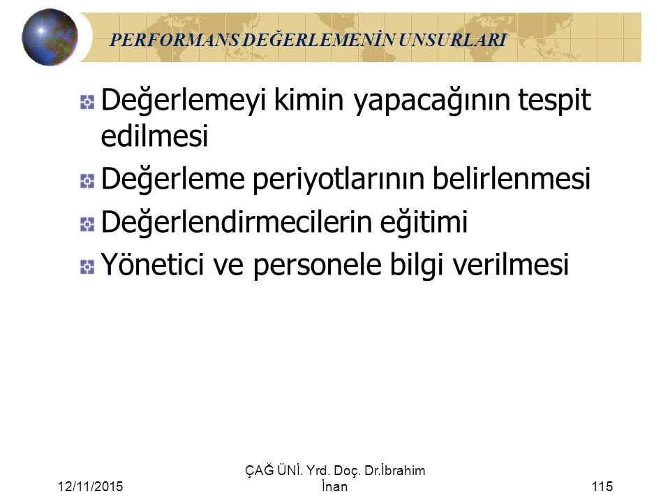 12/11/2015 ÇAĞ ÜNİ. Yrd. Doç. Dr.İbrahim İnan115 PERFORMANS DEĞERLEMENİN UNSURLARI Değerlemeyi kimin yapacağının tespit edilmesi Değerleme periyotları