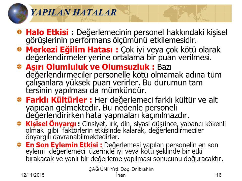 12/11/2015 ÇAĞ ÜNİ. Yrd. Doç. Dr.İbrahim İnan116 YAPILAN HATALAR Halo Etkisi : Değerlemecinin personel hakkındaki kişisel görüşlerinin performans ölçü