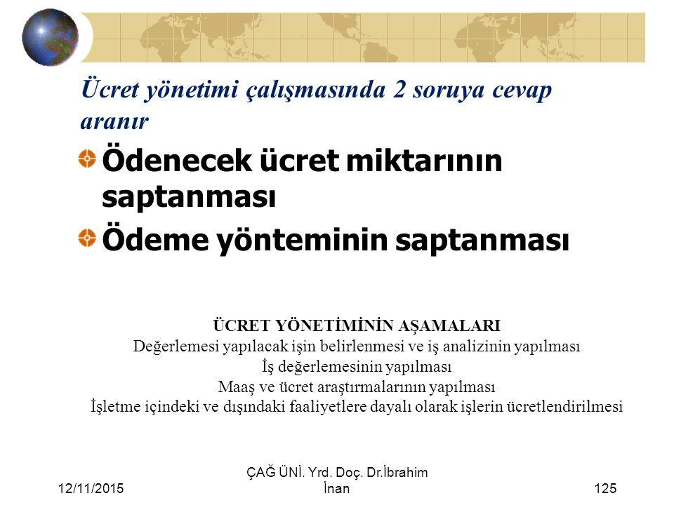 12/11/2015 ÇAĞ ÜNİ. Yrd. Doç. Dr.İbrahim İnan125 Ücret yönetimi çalışmasında 2 soruya cevap aranır Ödenecek ücret miktarının saptanması Ödeme yöntemin