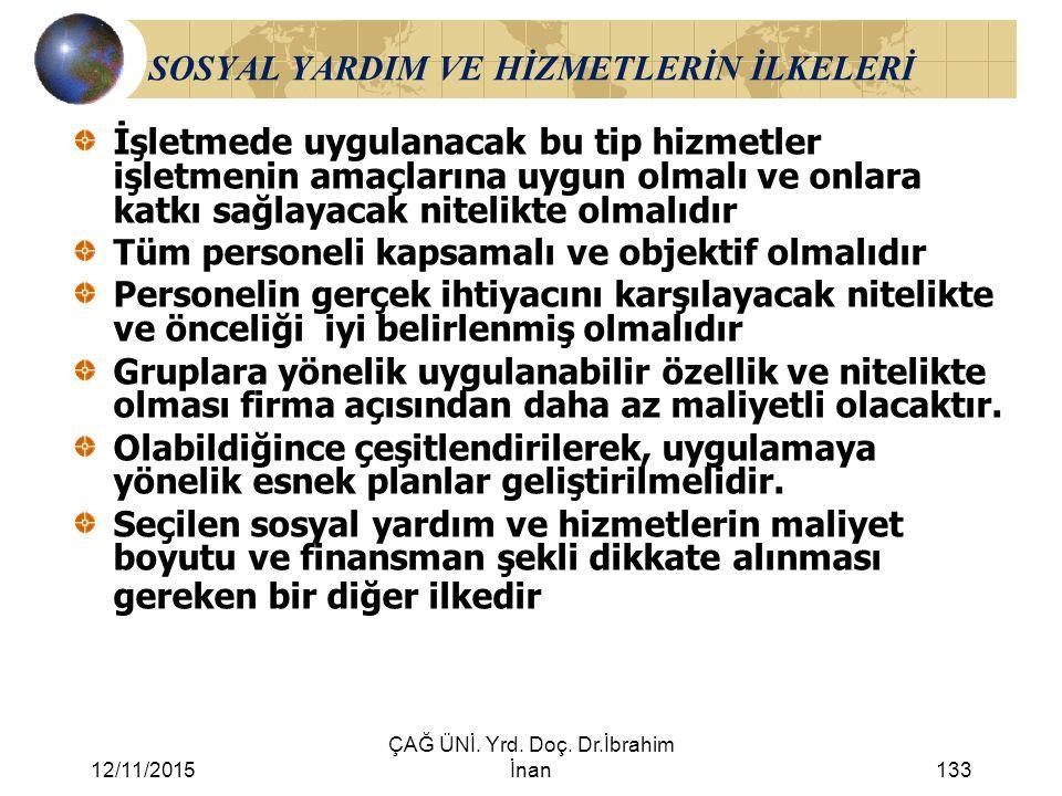 12/11/2015 ÇAĞ ÜNİ. Yrd. Doç. Dr.İbrahim İnan133 SOSYAL YARDIM VE HİZMETLERİN İLKELERİ İşletmede uygulanacak bu tip hizmetler işletmenin amaçlarına uy