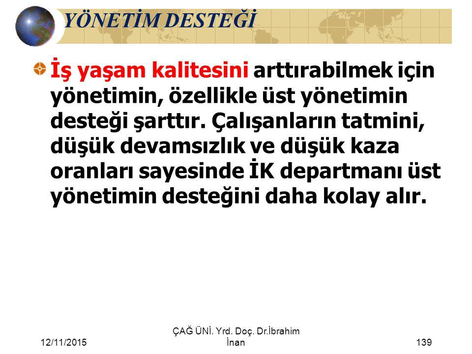 12/11/2015 ÇAĞ ÜNİ. Yrd. Doç. Dr.İbrahim İnan139 YÖNETİM DESTEĞİ İş yaşam kalitesini arttırabilmek için yönetimin, özellikle üst yönetimin desteği şar