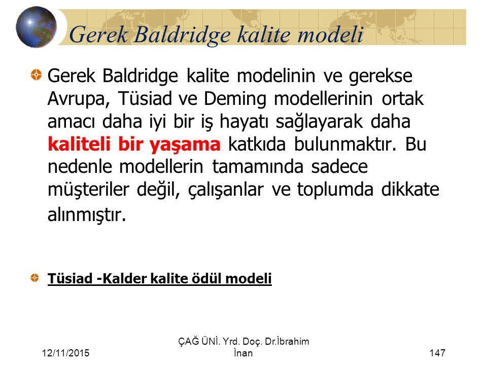 12/11/2015 ÇAĞ ÜNİ. Yrd. Doç. Dr.İbrahim İnan147 Gerek Baldridge kalite modeli Gerek Baldridge kalite modelinin ve gerekse Avrupa, Tüsiad ve Deming mo