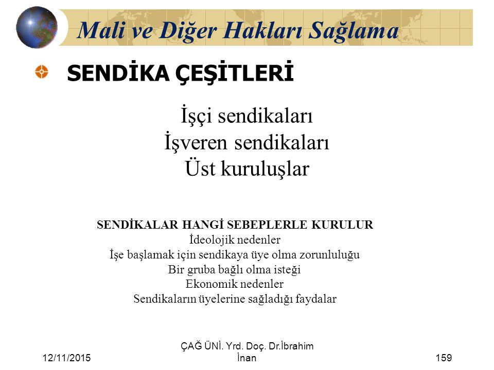 12/11/2015 ÇAĞ ÜNİ. Yrd. Doç. Dr.İbrahim İnan159 Mali ve Diğer Hakları Sağlama SENDİKA ÇEŞİTLERİ İşçi sendikaları İşveren sendikaları Üst kuruluşlar S