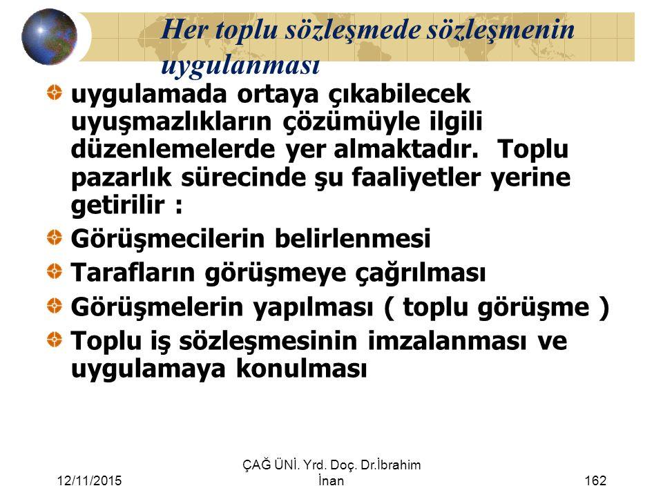 12/11/2015 ÇAĞ ÜNİ. Yrd. Doç. Dr.İbrahim İnan162 Her toplu sözleşmede sözleşmenin uygulanması uygulamada ortaya çıkabilecek uyuşmazlıkların çözümüyle