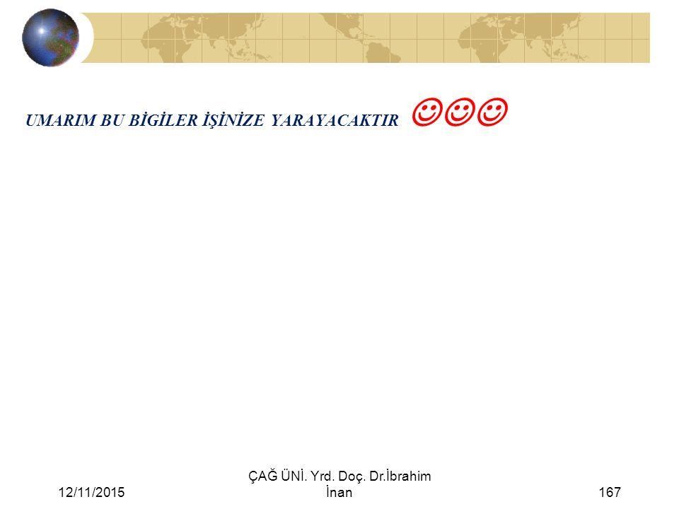 12/11/2015 ÇAĞ ÜNİ. Yrd. Doç. Dr.İbrahim İnan167 UMARIM BU BİGİLER İŞİNİZE YARAYACAKTIR