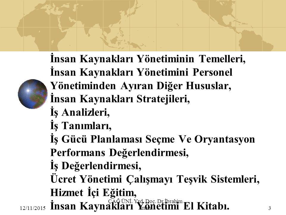 12/11/2015 ÇAĞ ÜNİ.Yrd. Doç. Dr.İbrahim İnan54 İŞ ANALİZİ İKY Sisteminde neden kritik önemlidir.