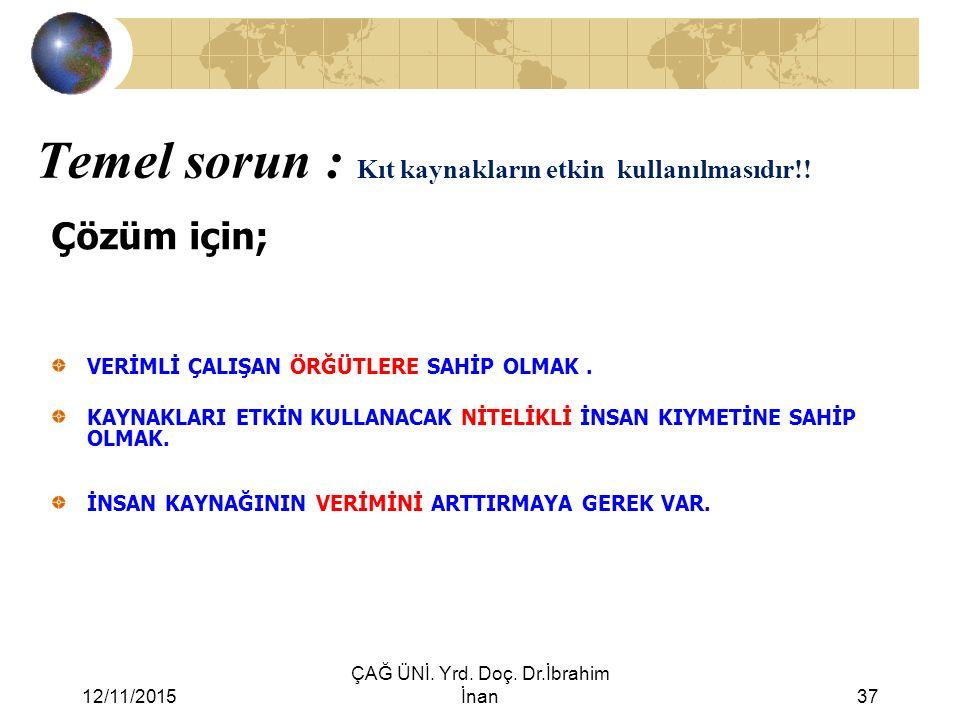 12/11/2015 ÇAĞ ÜNİ. Yrd. Doç. Dr.İbrahim İnan37 Temel sorun : Kıt kaynakların etkin kullanılmasıdır!! Çözüm için; VERİMLİ ÇALIŞAN ÖRĞÜTLERE SAHİP OLMA