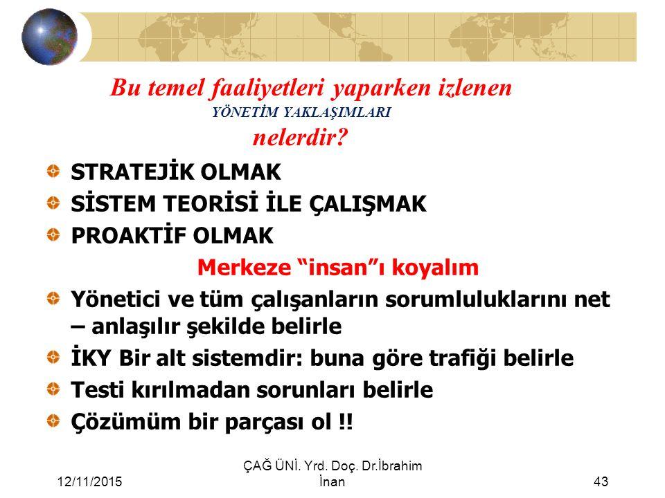 12/11/2015 ÇAĞ ÜNİ. Yrd. Doç. Dr.İbrahim İnan43 Bu temel faaliyetleri yaparken izlenen YÖNETİM YAKLAŞIMLARI nelerdir? STRATEJİK OLMAK SİSTEM TEORİSİ İ