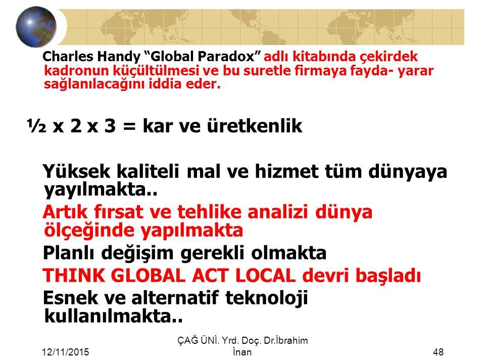 """12/11/2015 ÇAĞ ÜNİ. Yrd. Doç. Dr.İbrahim İnan48 Charles Handy """"Global Paradox"""" adlı kitabında çekirdek kadronun küçültülmesi ve bu suretle firmaya fay"""