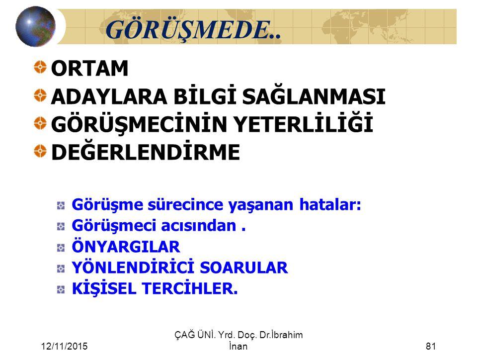 12/11/2015 ÇAĞ ÜNİ. Yrd. Doç. Dr.İbrahim İnan81 GÖRÜŞMEDE.. ORTAM ADAYLARA BİLGİ SAĞLANMASI GÖRÜŞMECİNİN YETERLİLİĞİ DEĞERLENDİRME Görüşme sürecince y