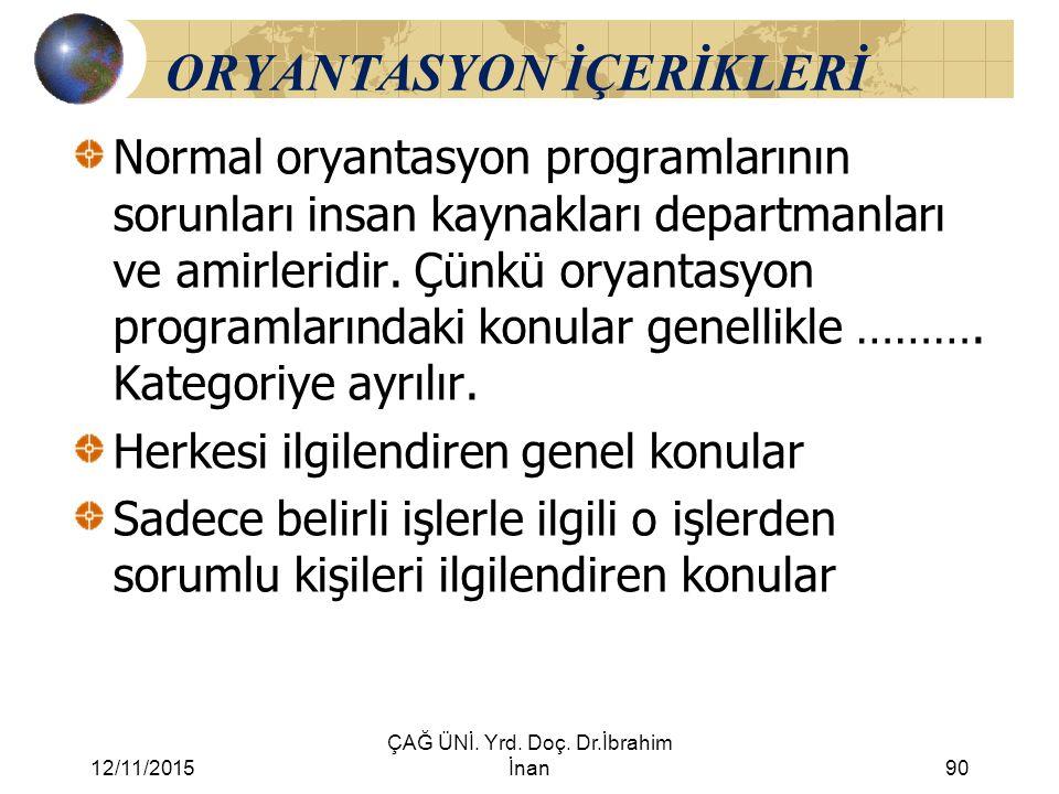12/11/2015 ÇAĞ ÜNİ. Yrd. Doç. Dr.İbrahim İnan90 ORYANTASYON İÇERİKLERİ Normal oryantasyon programlarının sorunları insan kaynakları departmanları ve a