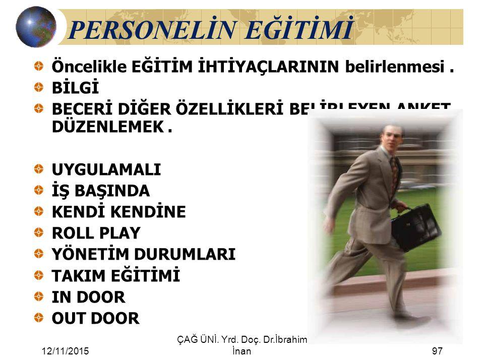 12/11/2015 ÇAĞ ÜNİ. Yrd. Doç. Dr.İbrahim İnan97 PERSONELİN EĞİTİMİ Öncelikle EĞİTİM İHTİYAÇLARININ belirlenmesi. BİLGİ BECERİ DİĞER ÖZELLİKLERİ BELİRL