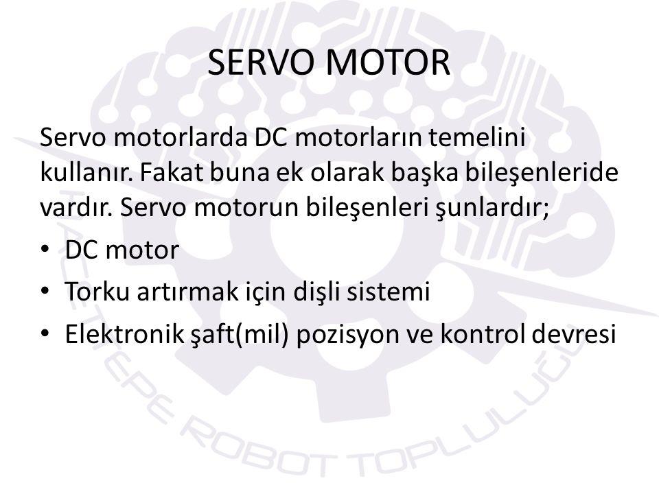 Servo motorlarında kendi içinde türleri vardır.R/C tipi servo motorlar PWM tekniği ile çalışırlar.