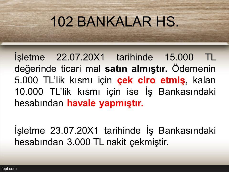 102 BANKALAR HS. İşletme 22.07.20X1 tarihinde 15.000 TL değerinde ticari mal satın almıştır.
