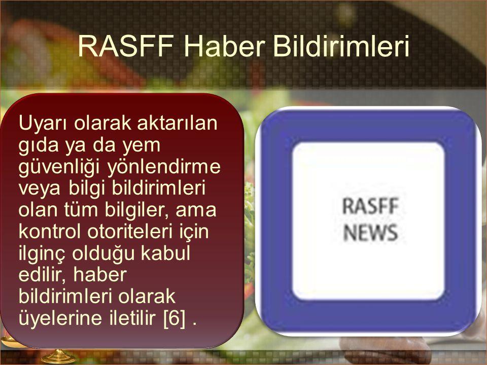 RASFF Haber Bildirimleri Uyarı olarak aktarılan gıda ya da yem güvenliği yönlendirme veya bilgi bildirimleri olan tüm bilgiler, ama kontrol otoriteler