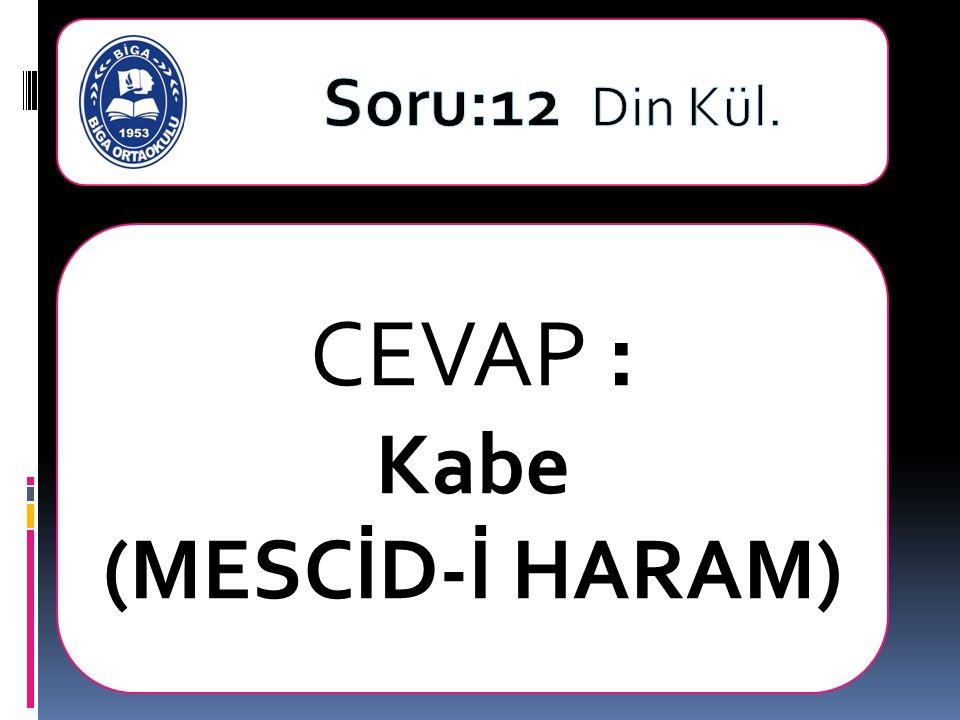 CEVAP : Kabe (MESCİD-İ HARAM)