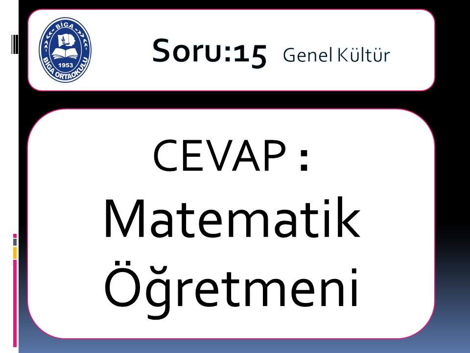 CEVAP : Matematik Öğretmeni