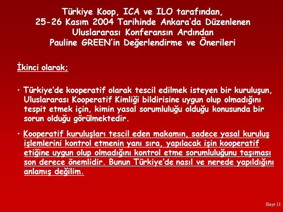 Türkiye'de kooperatif olarak tescil edilmek isteyen bir kuruluşun, Uluslararası Kooperatif Kimliği bildirisine uygun olup olmadığını tespit etmek için