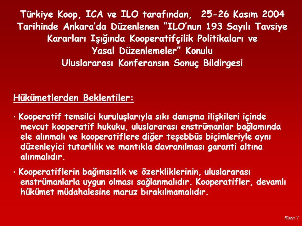 """Türkiye Koop, ICA ve ILO tarafından, 25-26 Kasım 2004 Tarihinde Ankara'da Düzenlenen """"ILO'nun 193 Sayılı Tavsiye Kararları Işığında Kooperatifçilik Po"""