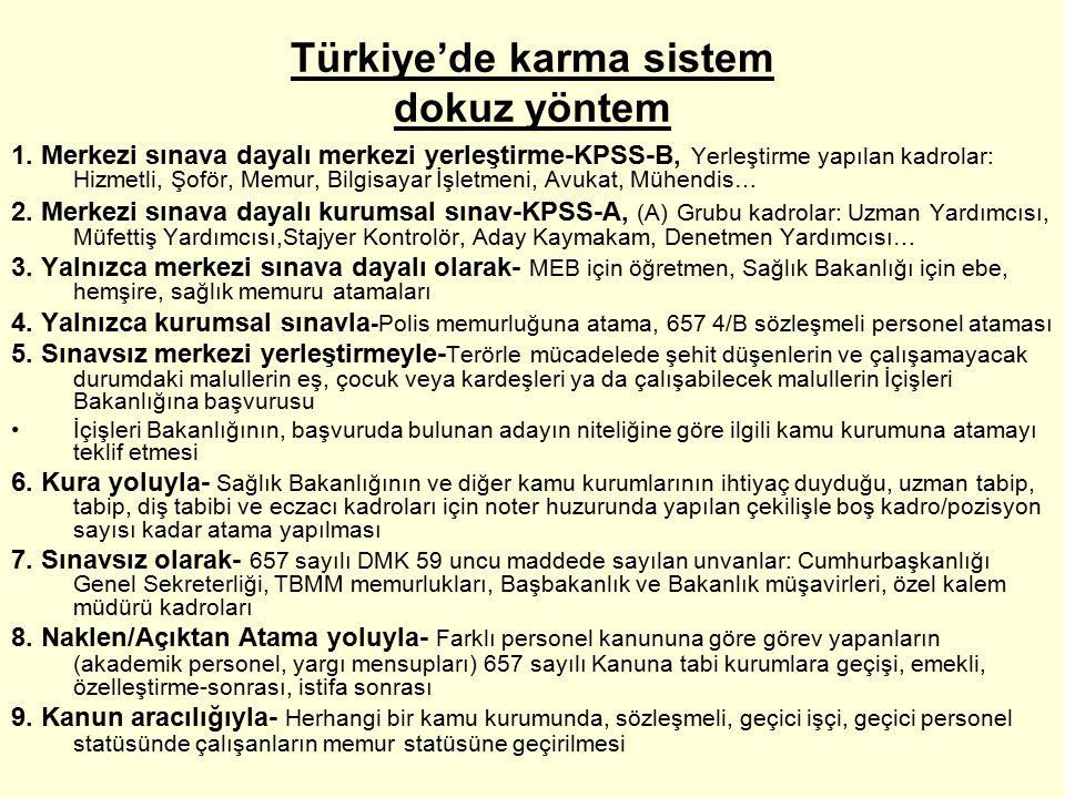 Türkiye'de karma sistem dokuz yöntem 1.