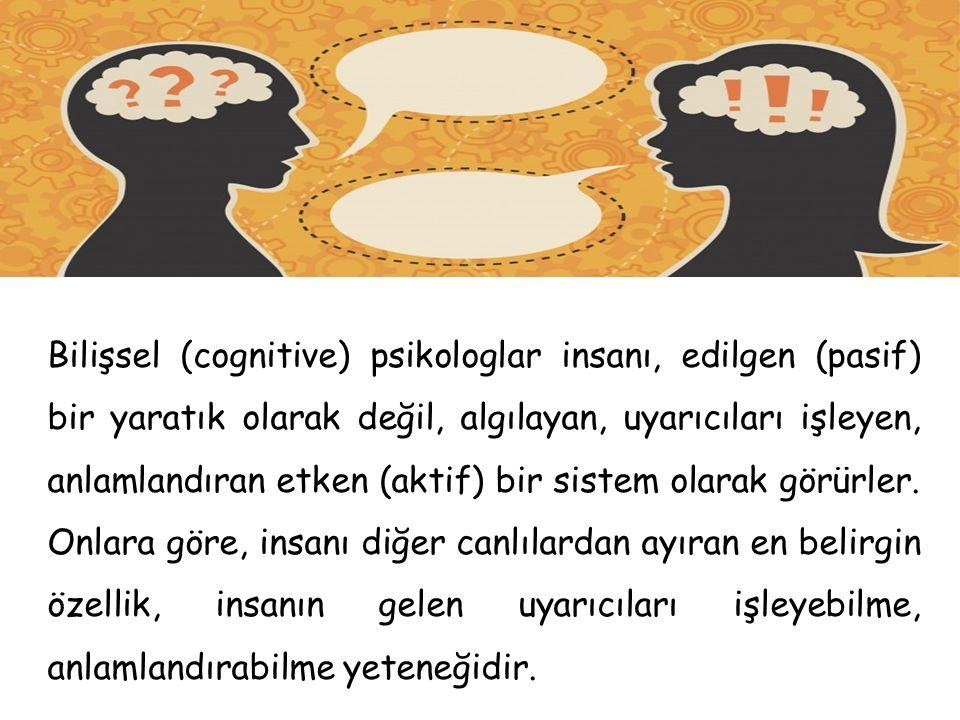 Bilişsel (cognitive) psikologlar insanı, edilgen (pasif) bir yaratık olarak değil, algılayan, uyarıcıları işleyen, anlamlandıran etken (aktif) bir sis