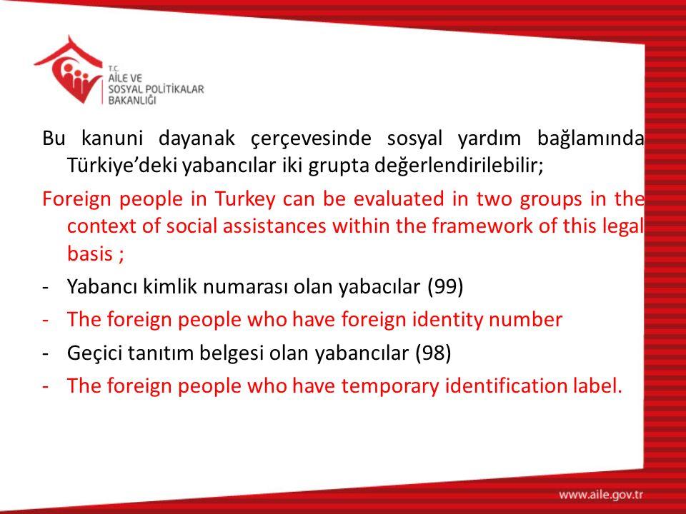 Bu kanuni dayanak çerçevesinde sosyal yardım bağlamında Türkiye'deki yabancılar iki grupta değerlendirilebilir; Foreign people in Turkey can be evalua