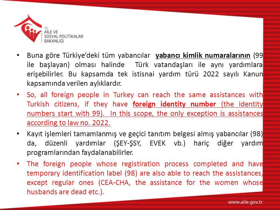 Buna göre Türkiye'deki tüm yabancılar yabancı kimlik numaralarının (99 ile başlayan) olması halinde Türk vatandaşları ile aynı yardımlara erişebilirle