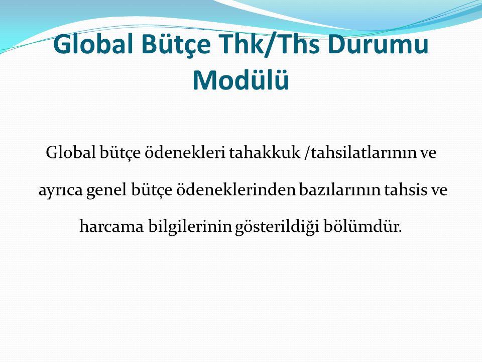 Global Bütçe Thk/Ths Durumu Modülü Global bütçe ödenekleri tahakkuk /tahsilatlarının ve ayrıca genel bütçe ödeneklerinden bazılarının tahsis ve harcama bilgilerinin gösterildiği bölümdür.
