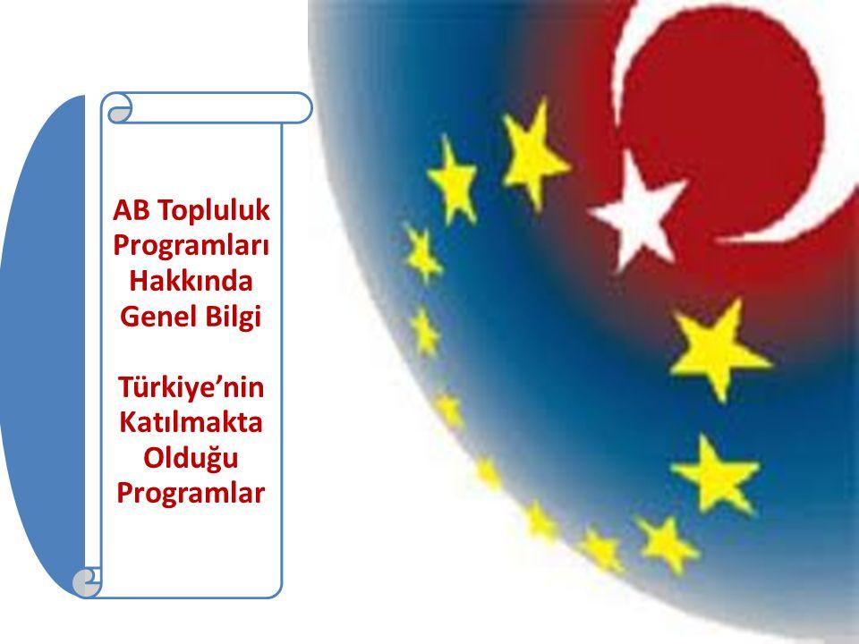 AB Topluluk Programları Hakkında Genel Bilgi Türkiye'nin Katılmakta Olduğu Programlar
