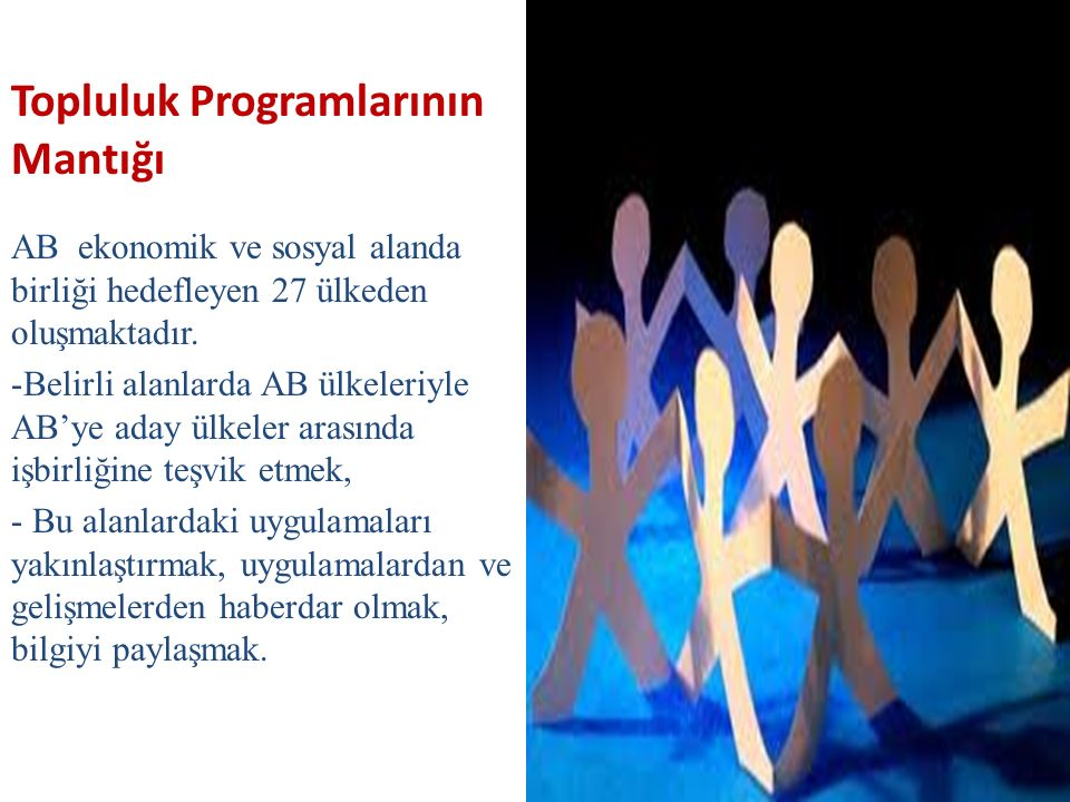 Topluluk Programlarının Mantığı AB ekonomik ve sosyal alanda birliği hedefleyen 27 ülkeden oluşmaktadır.