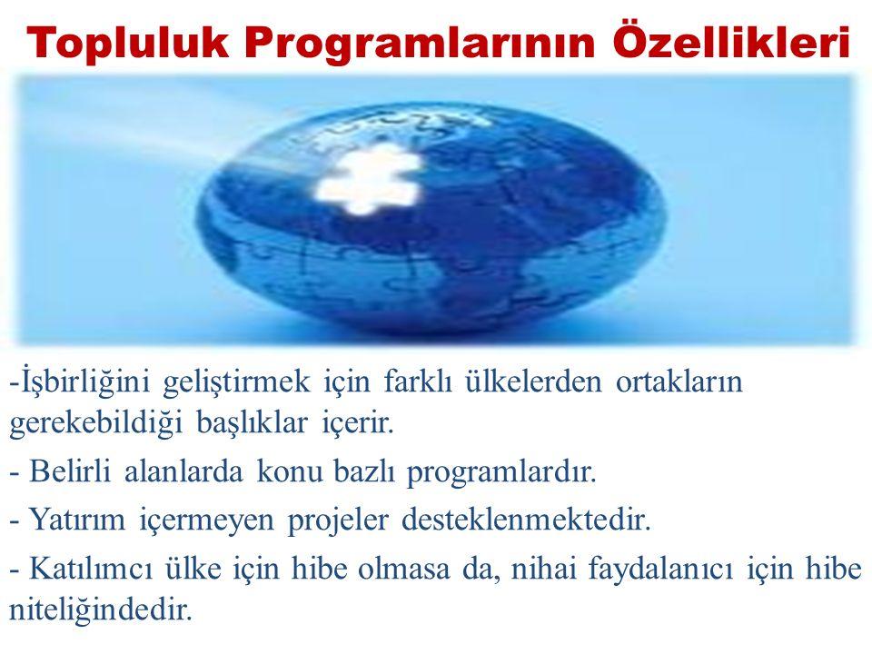 Topluluk Programlarının Özellikleri -İşbirliğini geliştirmek için farklı ülkelerden ortakların gerekebildiği başlıklar içerir.